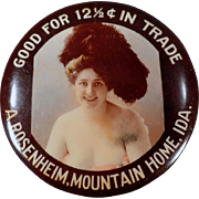 Vintage Celluloid Trade Token Pocket Mirror - Lady of the Night