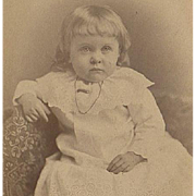 Vintage Cabinet Card Photograph - Little Girl in White Dress
