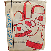 Vintage, McCall's Pattern #5617 - Aprons & Kitchen Accessories - 1977