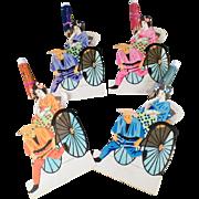 Vintage Paper Placecards - Japanese Geishas in Rickshaws