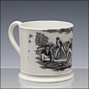 Antique Staffordshire Child's Cup / Mug with Hoop Trundling Decoration - Pearlware - ...