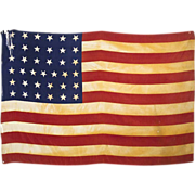 SOLD 37 Star American Flag - 1867 - 1877 - Americana - Framed Silk Parade Flag