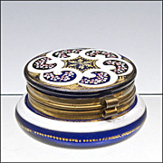 SOLD Antique Cobalt Blue Enameled Dresser Box  - Patch Box - Powder Jar - Casket