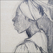 SOLD Drawing by Boscoe Holder - Graphite on Paper - Island Women - Listed 20th C Artist