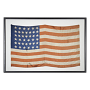 39 Star American Flag - 19th C - Americana - Silk Parade Flag with Rare Unofficial Star Count