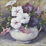 Watercolor - Still Life of Petunias by Listed Artist