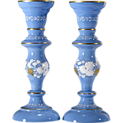 Antique Victorian Opaline Glass Candlesticks or Vases - Blue - Hand Painted Grape Decoration .