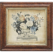 Antique Theorem Painting on Velvet in Original Frame - Americana - Folk Art -  Textiles - 1800