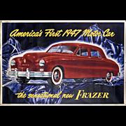 """SALE Frazer Motor Car Advertising Poster - Huge 41 1/2"""" x 61"""" - 1947 - Mantiques - A"""
