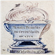 18th C Memorial Watercolor with Skull, Bones, Casket, and Hourglass - 1794 Memento Mori - Folk