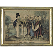 SALE The Village Dandy - E B & E C Kellogg Print with Antique Gilded Frame