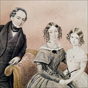 Mid 19th C Watercolor Family Portrait on Paper- The First Photobomb! - Framed in Period