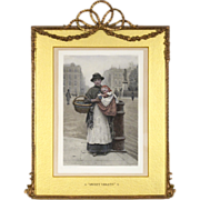 Elaborate Antique Frame with Barbola Swags and Bow and a 19th C Hand Colored Lithograph by H J