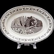 SALE Antique Aesthetic Transferware Turkey Platter - Enormous - Rare 19th C English Aesthetic