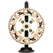 SALE Carnival Gaming Wheel on Stand - Antique Folk Art - Wooden Steeplechase Gaming Wheel with