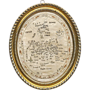 SOLD Antique Embroidered Map of England and Wales - Silk on Silk - Brass Clad Wood Frame