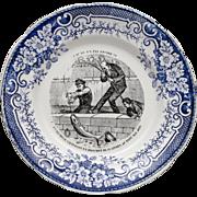 SALE PENDING Whimsical French Transferware Plate w/ Fishing Scene 1920's - Mavaleix & Granger