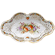SALE Antique Reticulated Footed Fruit Bowl - C G Schierholz & Sohn - 19th C Centerpiece Bowl