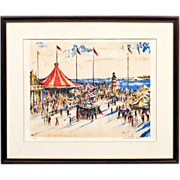 Signed Print of a Beach Resort Carnival with Lighthouse