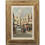 Rustic Mediteranian Market Scene - Signed Oil on Canvas