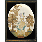 SALE Antique Georgian Silk Work and Cheneille Embroidery of a Woman Twirling with a Blue and W