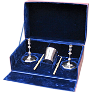Sterling Shabbat Set with Candle Holders and Kiddush Cup - Sabbath Set - English