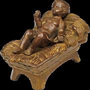 Jesus in the Manger - Small Bronze Sculpture