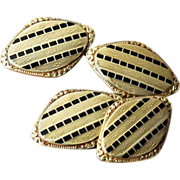 Antique 14K Gold Double Sided Cufflinks - Rose Gold, Yellow Gold, and Black Enamel - Cuff Link