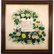 SALE Large 19th C Folk Art Painting with Poem to Mother in Period Walnut and Lemon Gold Frame