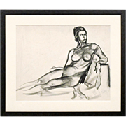 SOLD Charcoal Nude Drawing by Hayley Lever, American Impressionist - With Provenance