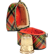 SOLD 19th C Mauchline Tartanware Thimble Case w/ Solid Gold Thimble - Prince Charlie - Knife B