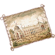 Rare Antique Souvenir Printed Silk Pincushion - Paris Universal Exhibition of 1900 - Expositio