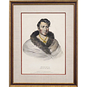 SOLD Hand Colored Lithograph Circa 1838 of Ong Pa Ton Ga - Chief of the Omahas - From McKenney