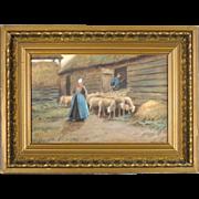Antique Painting by American Artist Thomas Raphael Congdon - 'Herding Sheep'