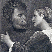 The Lovers - Antique Engraving after Giorgione (Giorgio Da Castelfranco) by Domenico Cunego fr