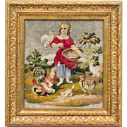 Antique Victorian Beaded Embroidery of a Girl Feeding Chickens - Berlin Work - Berlinwork - Ne