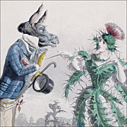 Antique Steel Engraving 'Thistle' from Grandville's 'Les Fleurs Animees' - Hand Colored with E