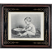 Steel Engraving after Timoleon Lobrichon in Antique Period Eastlake Victorian Frame - Baby Pri