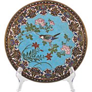 SOLD Japanese 19th C Meiji Cloisonne Charger with Song Bird among Rose Blossoms - Enamel Plate