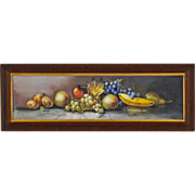 Still Life Painting of Fruit in Yard Long  Format - Antique American Pastel in Original Oak Fr