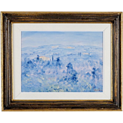 Tuscan Landscape Painting by Contemporary Italian Artist, Fosco Fantone - Oil on Wood - Blue F