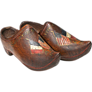 SOLD WW1 Commemorative Wooden Children's Shoes or Sabot - American Flag and French Flag - Folk