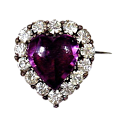 SALE Heart of Purple Secrets - Georgian Paste Brooch