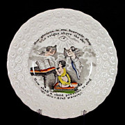 19th C Child's Transferware Plate w/ Angels - Transfer Ware - Staffordshire - Pearl Ware - Pea