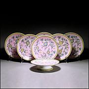 Antique 19th C Derby Crown Porcelain Dessert or Luncheon Set w/ 6 Plates & Compote / Comport /
