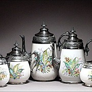 SOLD 19th C American Graniteware / Enamelware Set w/ Decorative Pewter Mounts Signed & Numbere
