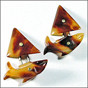SALE Fish Shaped Cufflinks Hand Carved of Horn - Cuff Links