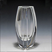 Signed Baccarat Crystal Bouton-D'or Vase