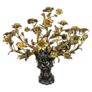 SALE PENDING Bronze Nude Sconce with Gilded Flowers, Buds, and Leaves