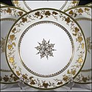 Six Latrille Freres Limoges Plates with Raised Gold Enameled Decoration